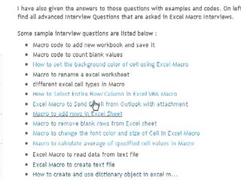 Excel Macro Interview Questions And Answers  Youtube