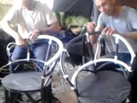 Tissage chaises pour cafés - YouTube on
