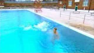 Zoe Salmon at an open air swimming pool