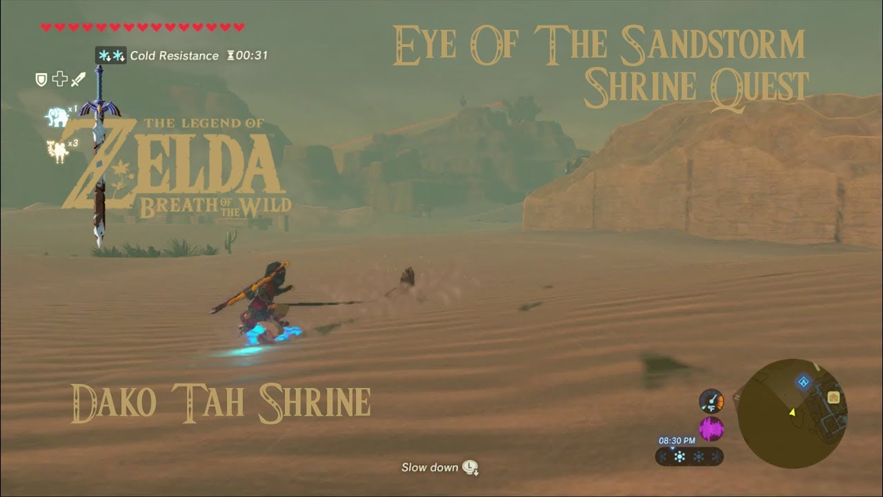 Zelda Botw Eye Of The Sandstorm Shrine Quest Dako Tah Shrine Youtube