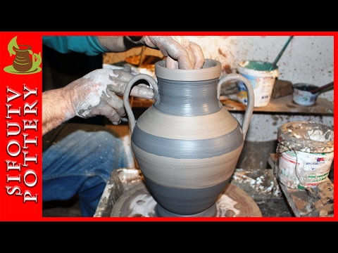 Pottery throwing - How to Make  a Greek Pottery Amphora #12