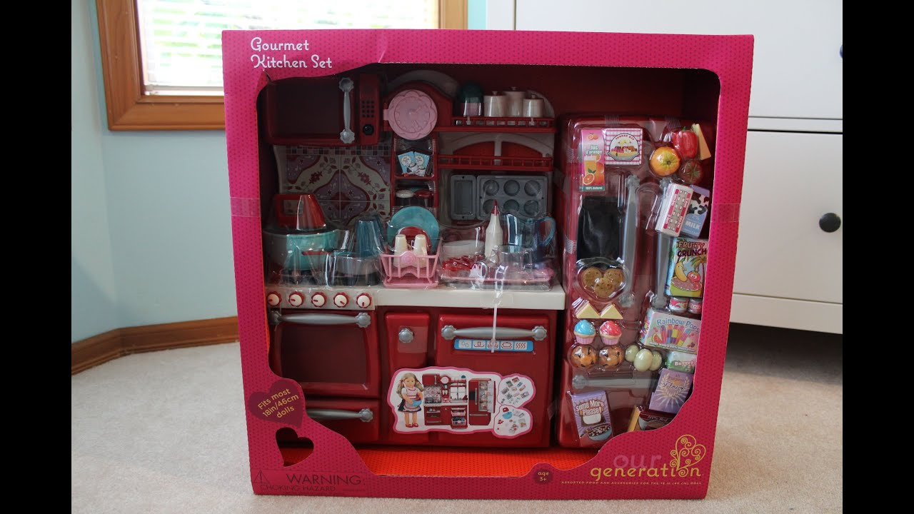 kitchen set for girl roman shades opening review of our generation youtube