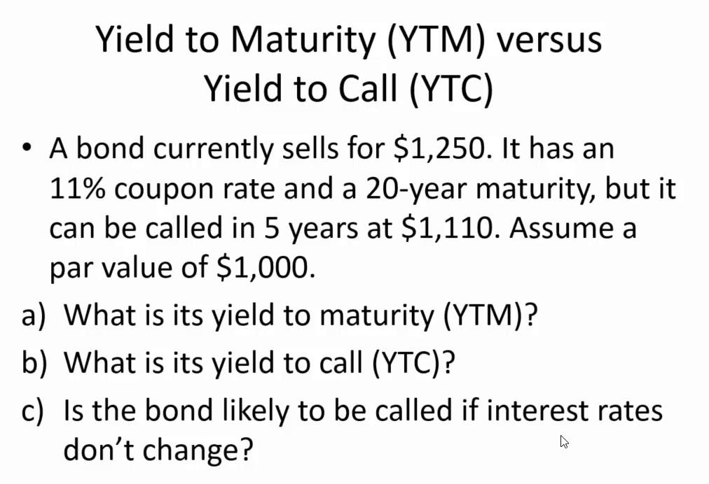 What is a yield to maturity