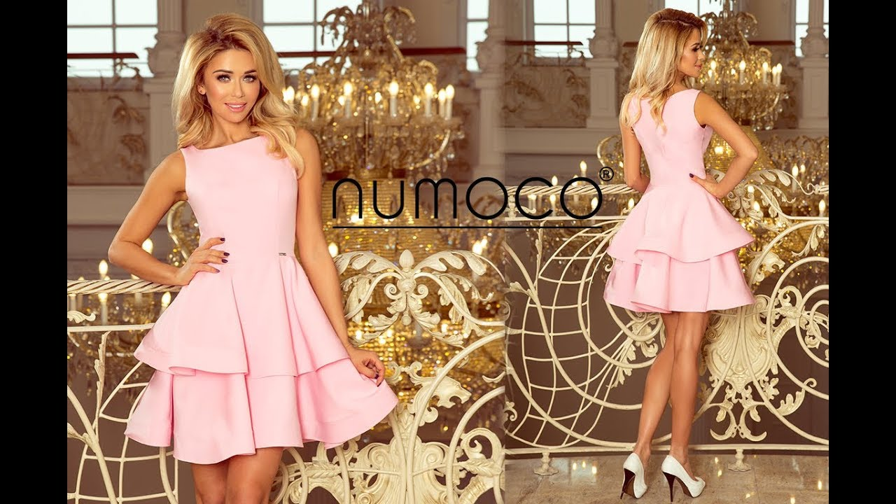 5b03f623b4 169-5 Elegancka Sukienka CRISTINA rozkloszowana - pastelowy róż - numoco -  producent sukienek