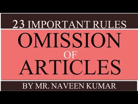 Omission of articles: English grammar