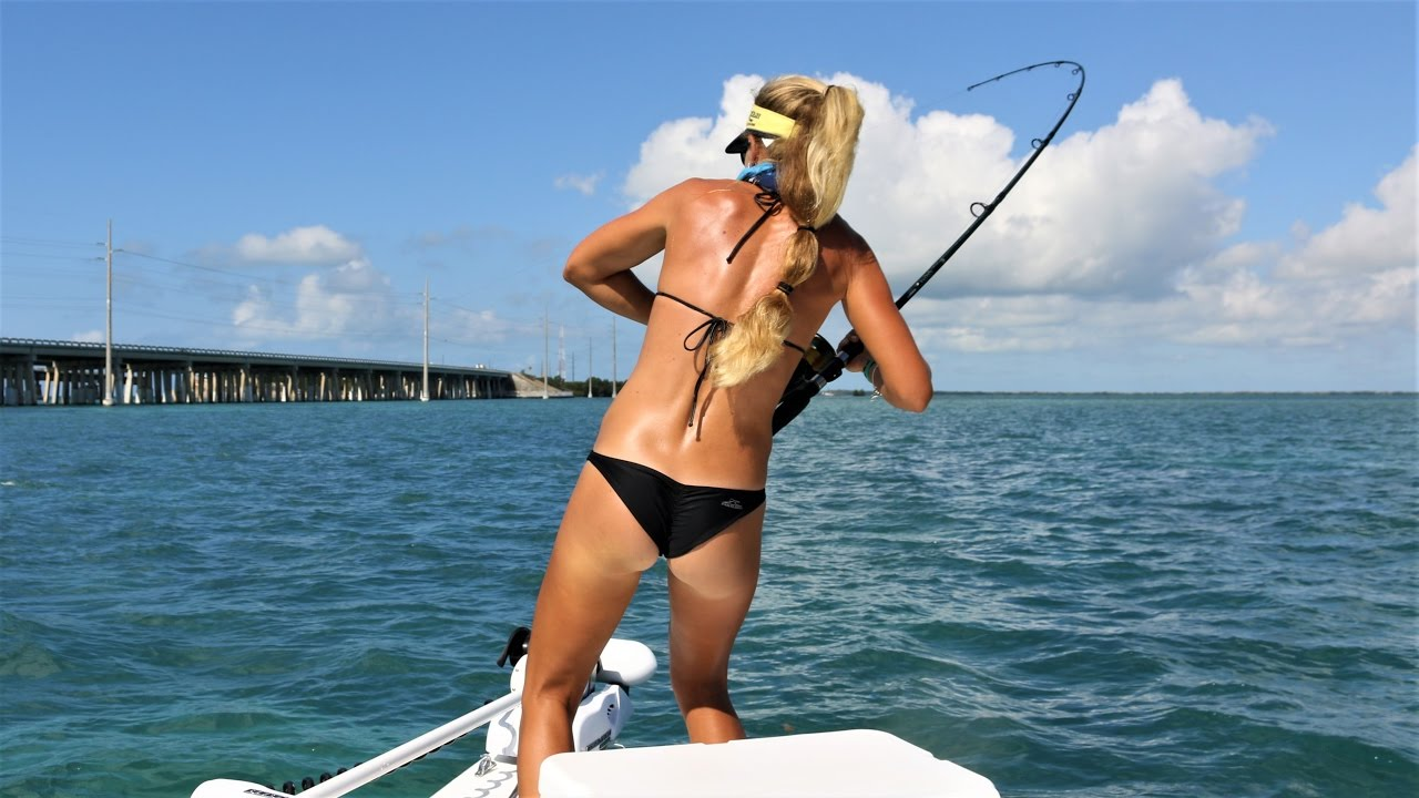 Best Girl In Bikini Florida Keys Tarpon Fishing Video 2