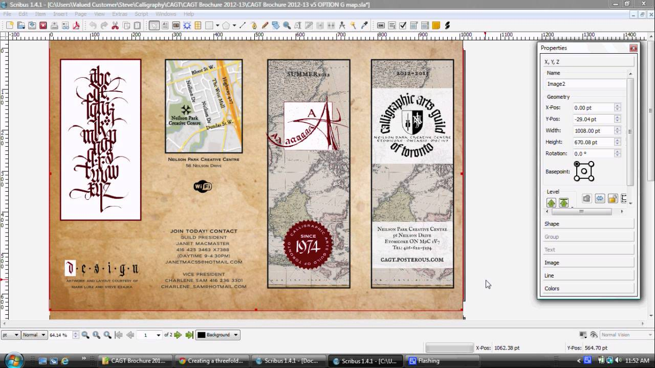 Design professional brochures using gimp inkscape and for Scribus brochure templates