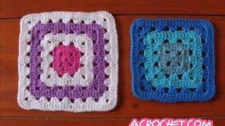Blog Acrochet Tejiendo cuadrados a colores paso a paso