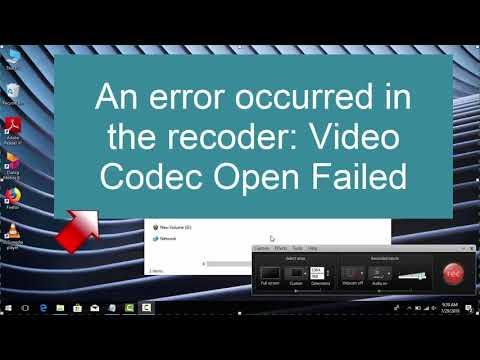 How to fix Camtasia Studio recording error, An error occurred in the recorder, Video Codec Open Fail