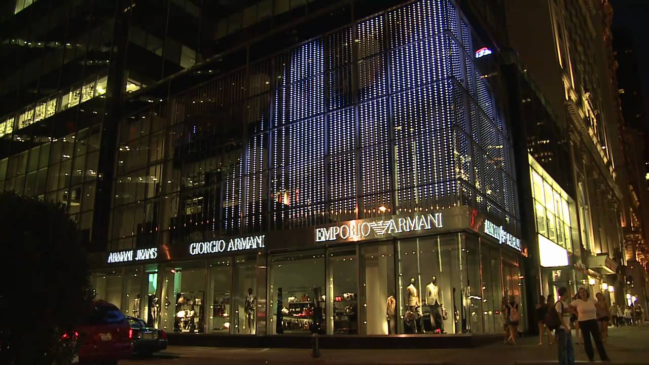Project armani 5th avenue new york media facade youtube for Armani store nyc
