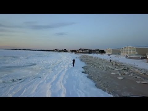 The Whole Ocean Frozen, CRAZY!  North Falmouth Massachusetts