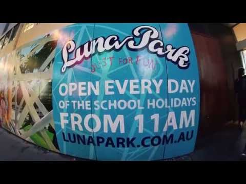 Luna Park's hand painted billboard at Melbourne Central 2016