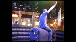 Andrew Webb skilfully rides the bucking bronco at Gillies Bar, Las Vegas Boulevard