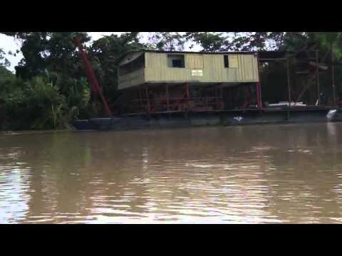 Dredges for alluvial gold mining on Maranon River, Peru