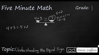 1st Grade Math Understanding the Equal Sign