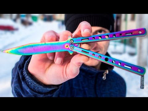 Нож бабочка с Алиэкспресс! Нож в расцветке градиент. Обзор + Три трюка!