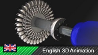 Pelton wheel / Pelton turbine / Hydro-power (3D animation)