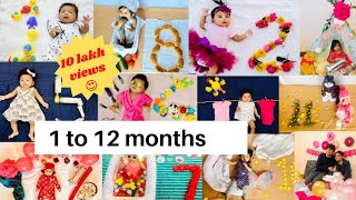 Monthly Baby photoshoot /Tisha's 1-12 months photoshoot at home /Baby photoshoot at home