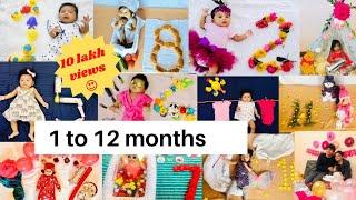 Monthly Baby photoshoot /Tisha's 1-12 months photoshoot at home /Baby photoshoot at home