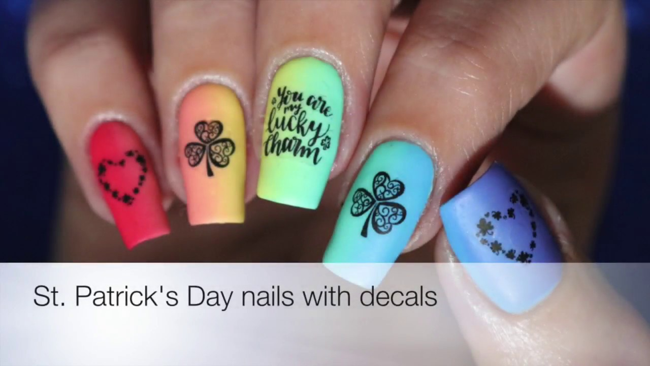 Saint Patrick\'s Day Rainbow Nails with Shop Keeki decals - YouTube