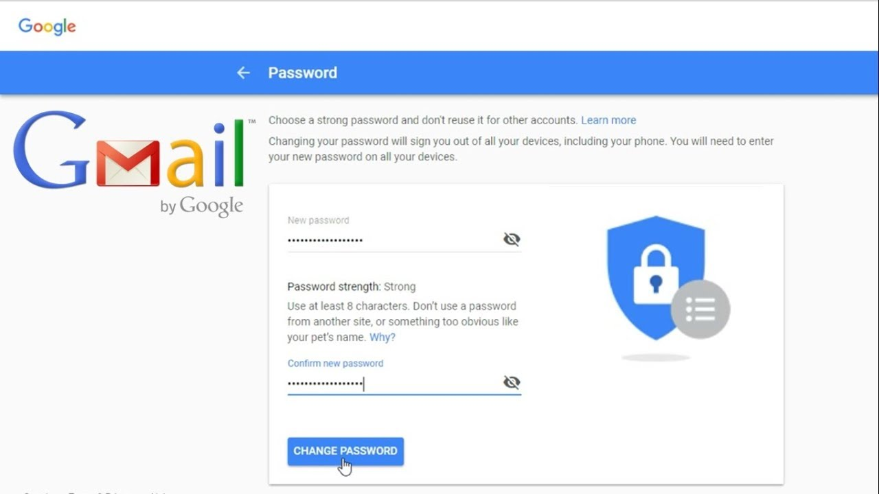 how to change password gmail id