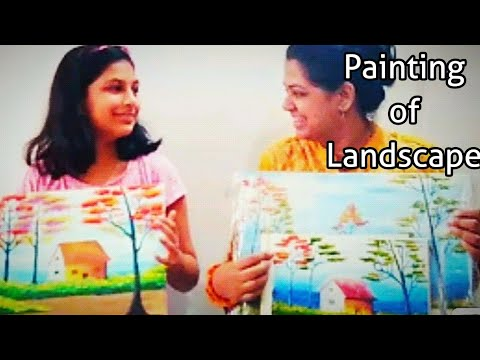 Painting trees, huts, nature scenery landscape by kids/ tips & tricks for acrylic and oil paintings