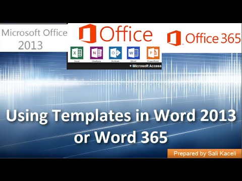 Using Templates in Word 2013 or Word 365 - YouTube