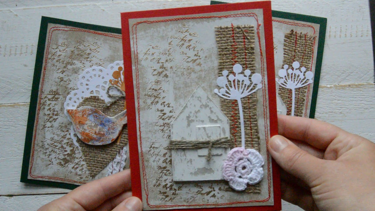 Vintage style shabby chic rustic Christmas cards.(ALL SOLD ) - YouTube