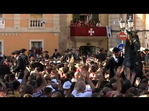 شاهد: مهرجان ركوب الخيل في جزيرة مينوركا الإسبانية  - نشر قبل 3 ساعة