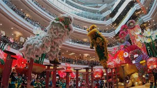 CNY 2019 ~ Acrobatic Lion Dance (双狮高桩表演 Múa Lân) by Khuan Loke 群樂 @1 Utama (17/1/2019) (4k UHD)