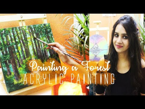 Painting a Forest| Acrylic Landscape Painting – Time-Lapse