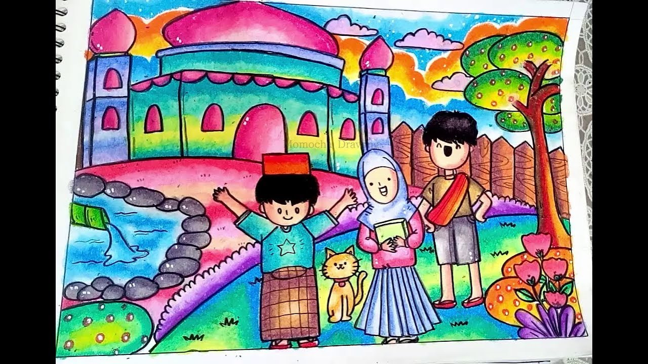 How To Draw And Coloring Scenery Of Mosque For Kids Step By Step