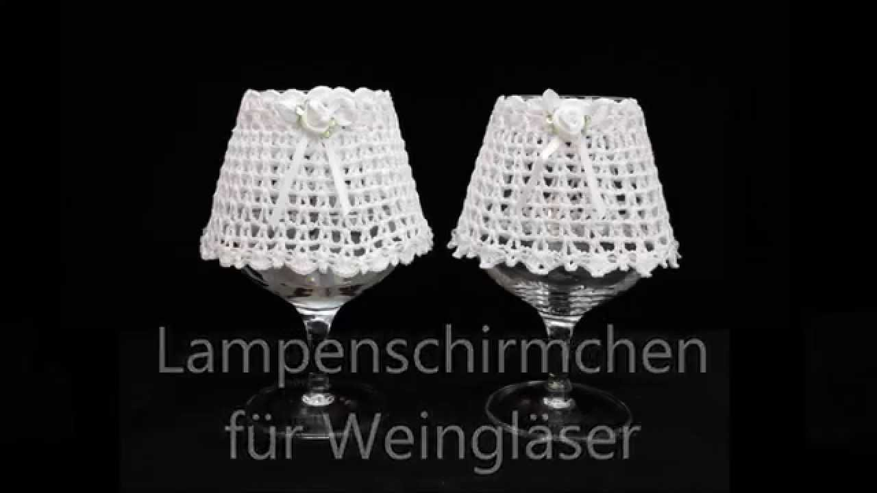 lampenschirme f r weingl ser crochet h keln youtube. Black Bedroom Furniture Sets. Home Design Ideas