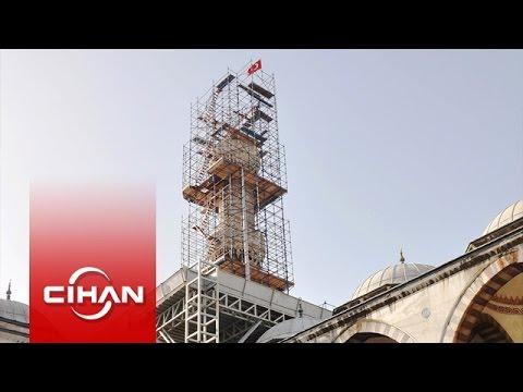 Sultanahmet Camisi'nin bir minaresi kaydı