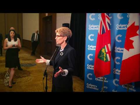 Ontario Premier Kathleen Wynne at the Calgary Chamber of Commerce