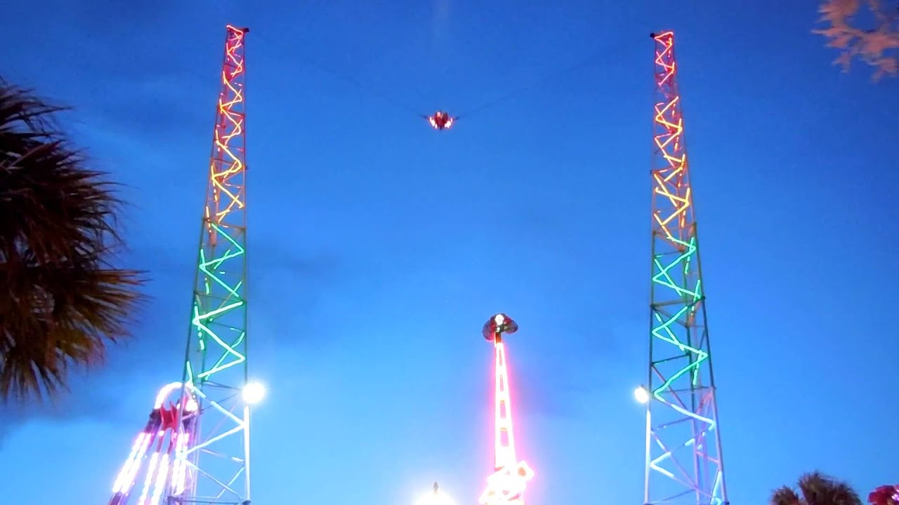 Bungee Sling Shot Amut Thrill Ride Light Changing Glow Myrtle Beach Sc