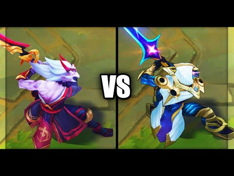 Blood Moon Master Yi vs Cosmic Blade Master Yi Epic Skins Comparison (League of Legends)