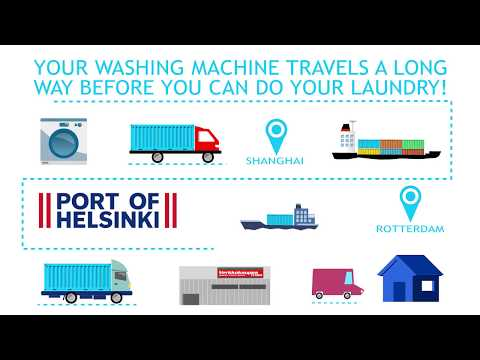 A washing machine's journey to homes via the Port of Helsinki