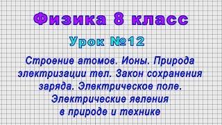 Физика 8 класс (Урок№12 - Строение атомов. Ионы. Природа электризации тел. Электрическое поле.)