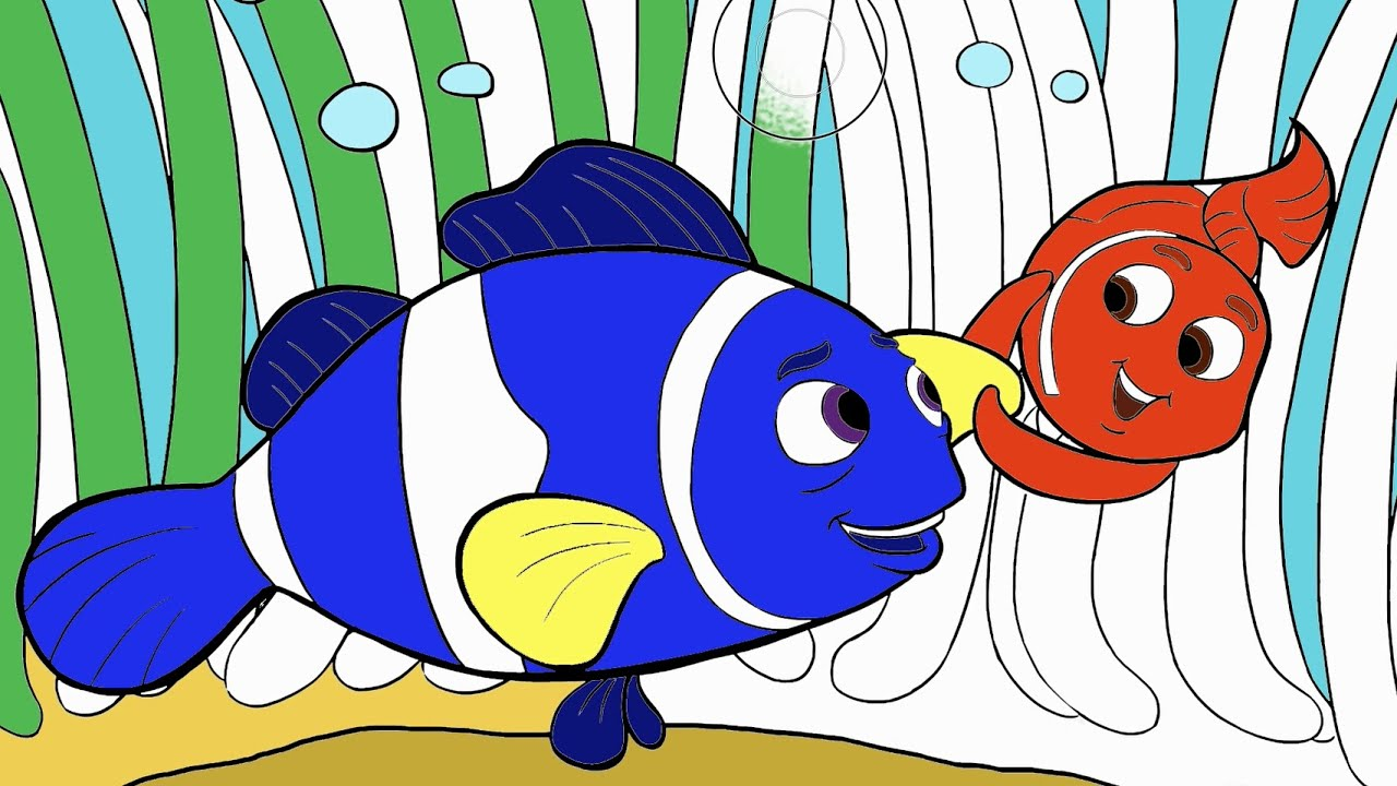 finding nemo coloring page 1 little hands coloring book youtube