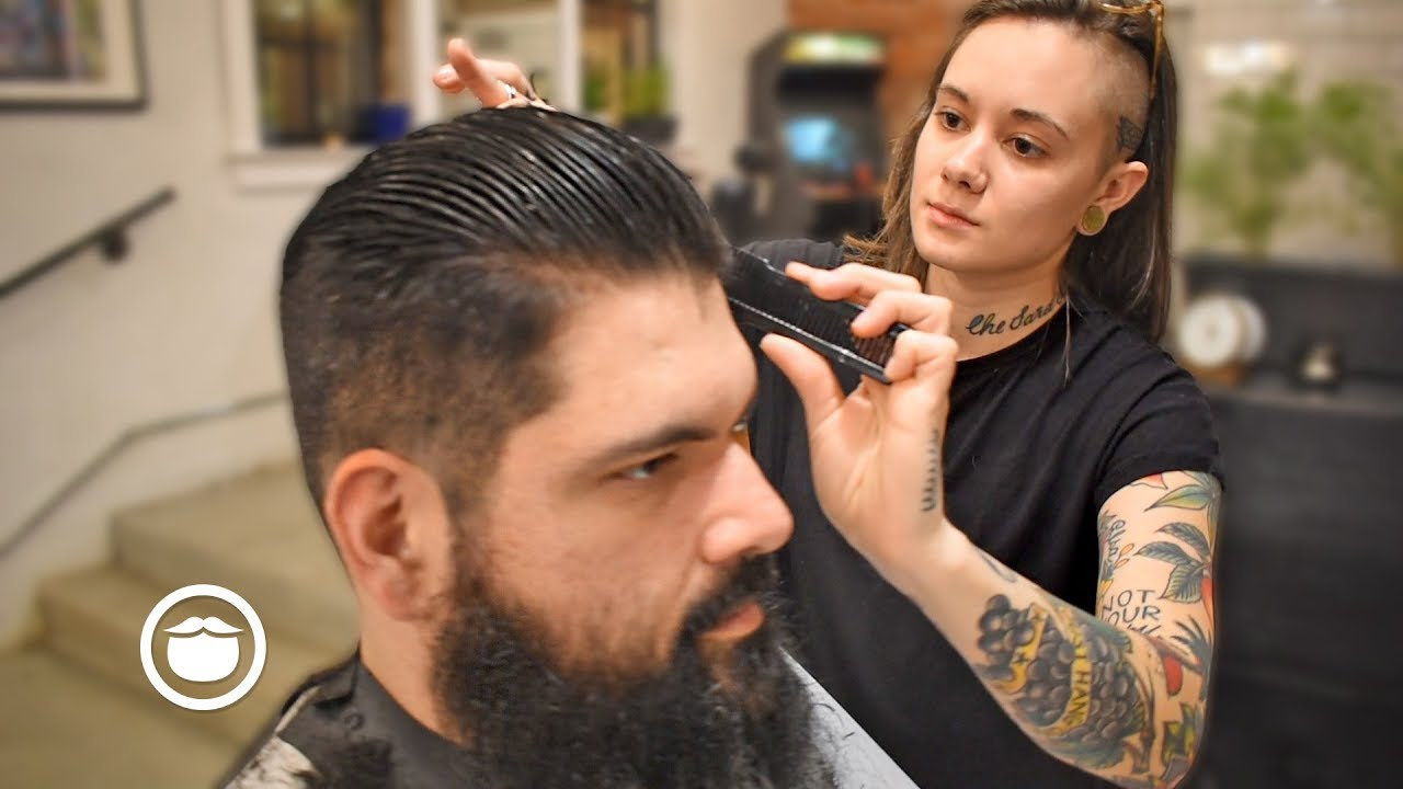 Slicked Back Haircut For Thick Hair With Beard Trim The