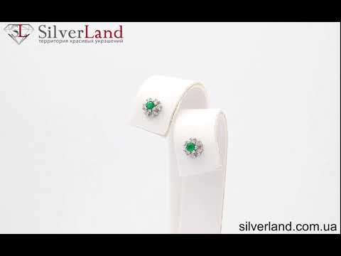 Золотые серьги гвоздики пуссеты с изумрудом и бриллиантами в форме цветка ПС-1и в SilverLand