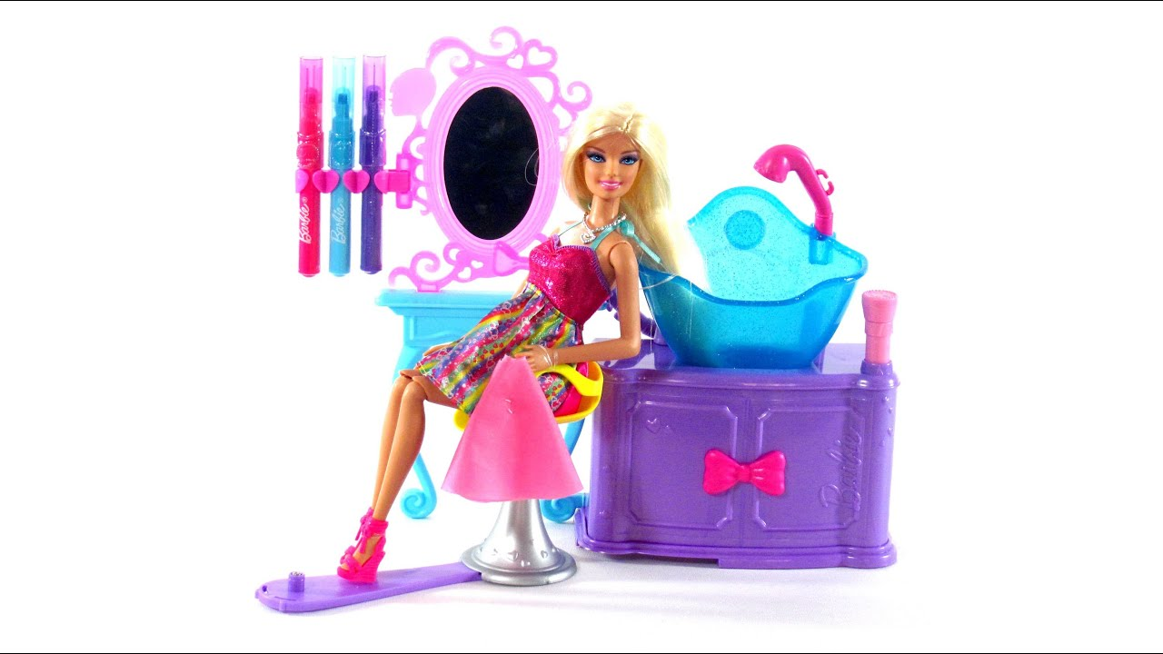 Barbie Toys Hairtastic Color And Wash Salon Toy Review YouTube