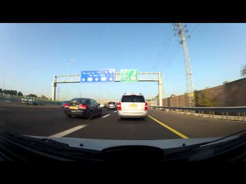 Driving from Lod to LLBG Airport to Ganot bridge to Ramat Gan x6 Time Lapse