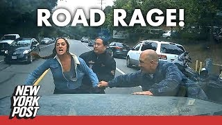 Road rage alert! Biker babe goes ballistic on family after cutting them off | News | New York Post