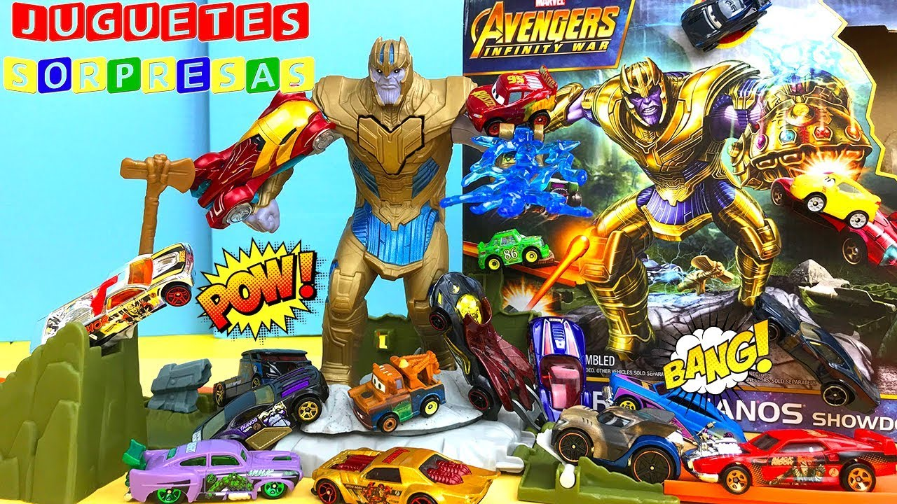 outlet store detailed pictures low price Carros de Carrera para niños - Pista de Coches HOT WHEELS AVENGERS VS  THANOS SHOWDOWN