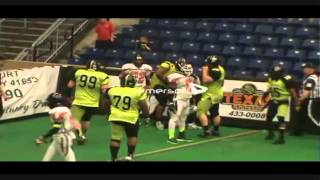 Kyle McCarthy #99 (L&R Tackle,Nose Guard) of the Kentucky Drillers vs. Detroit Thunder (2of2)