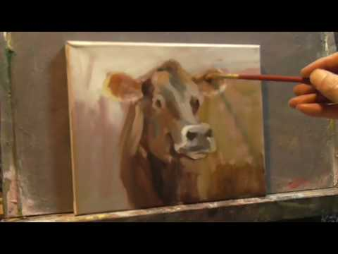 "Cow Painting REAL TIME Every Brush Stroke ""Alla Prima""""Daily Painter"" Peter Chorao"