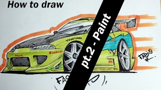How to draw a cartoon car: Brian´s 1995 Mitsubishi Eclipse [PT.2- Paint]