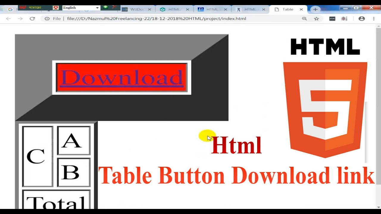 How To Make A Html Table Button Download Link